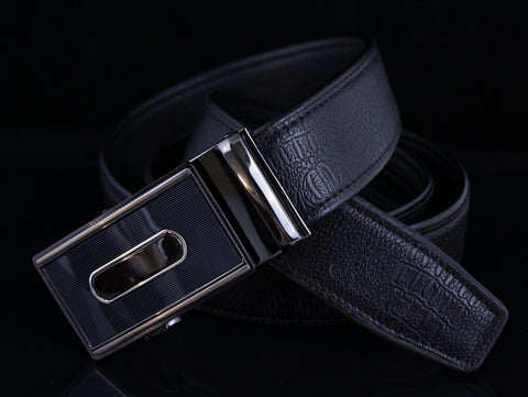 Mooniva Men's Ratchet Leather Belt - BBS0022-BLACK