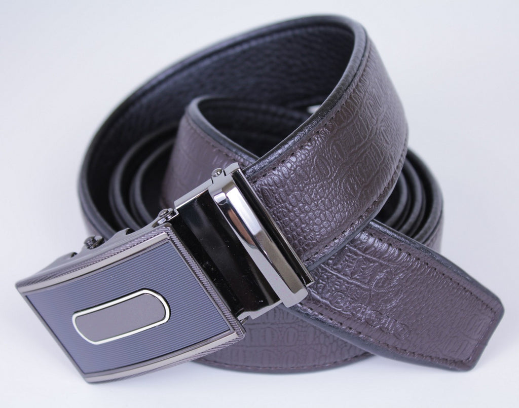 Mooniva Men's Ratchet Leather Belt - BBS0022-COFFEE