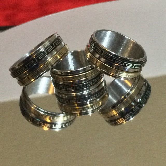 Men's stainless steel rings with 2 subrings