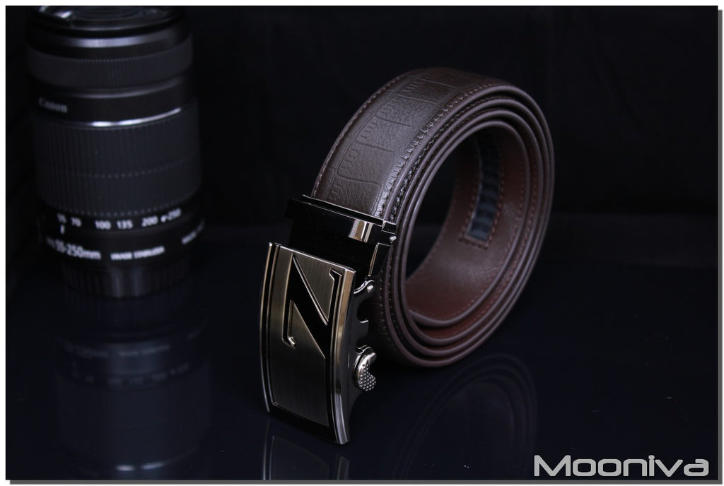 Mooniva Men's Leather Ratchet Belt - BBS0084COFFEE - SS Z Stripe Buckle