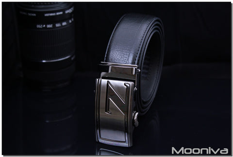 Mooniva Men's Leather Ratchet Belt - BBS0084BLACK - SS Z Stripe Buckle