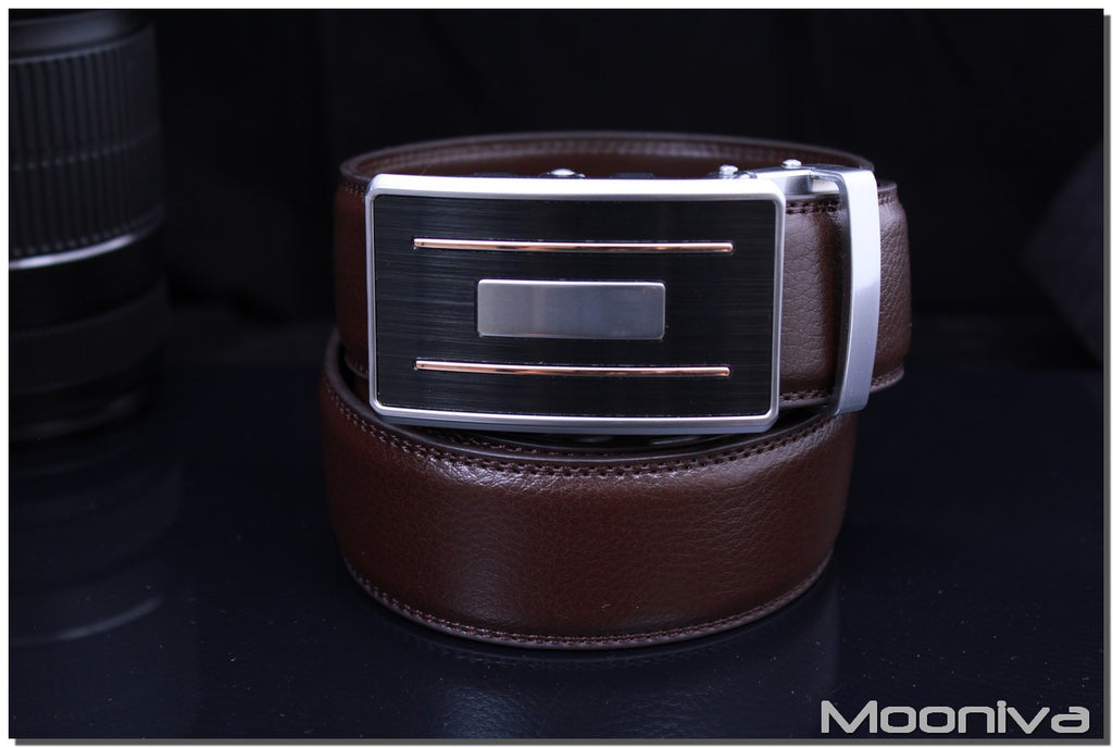 Mooniva Men's Leather Ratchet Belt - BBS0097COFFEE - Copper Stripe Silver Bar Buckle
