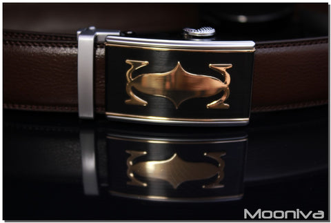 Mooniva Men's Leather Ratchet Belt - BBS0098COFFEE - Copper Crown Buckle