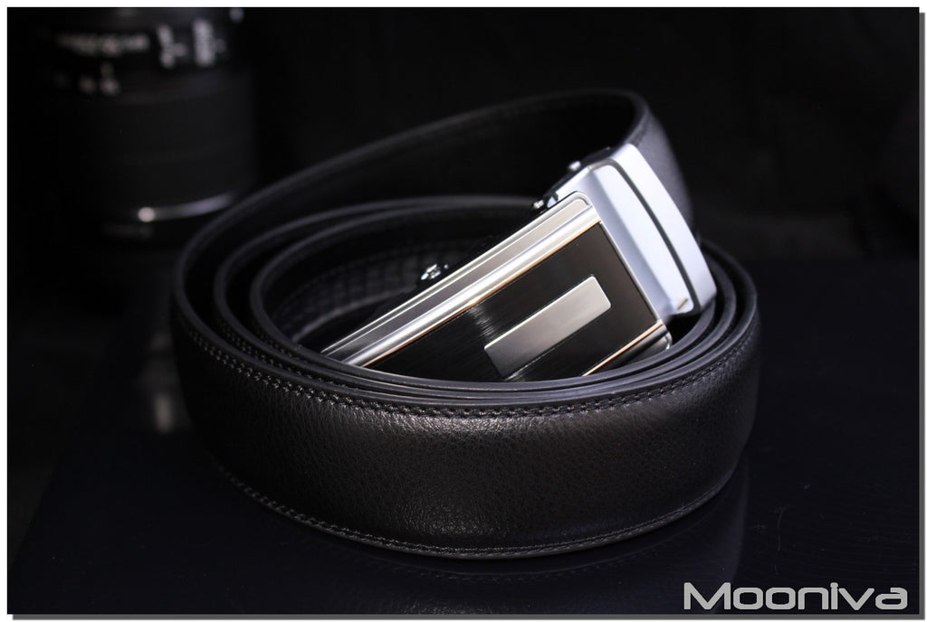 Mooniva Men's Leather Ratchet Belt - BBS0099BLACK - Copper Line SS Bar Buckle