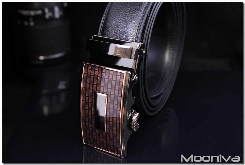 Mooniva Men's Leather Ratchet Belt - BBS0096BLACK - Copper Plate Buckle