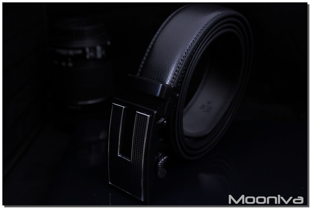 Mooniva Men's Leather Ratchet Belt - BBS0095BLACK - U Bar Stripe Buckle