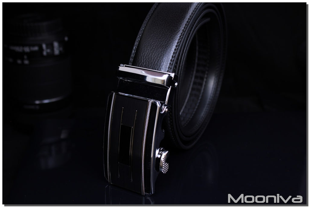 Mooniva Men's Leather Ratchet Belt - BBS0094BLACK - H Bar Stripe Buckle