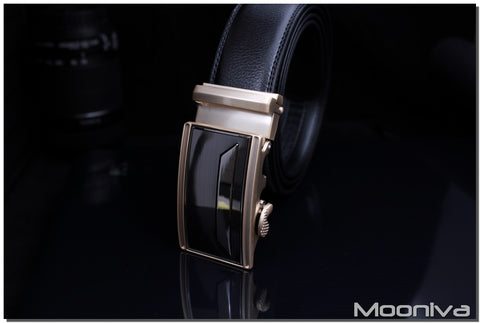 Mooniva Men's Leather Ratchet Belt - BBS0093BLACK - SS Trapeziod Bar Buckle