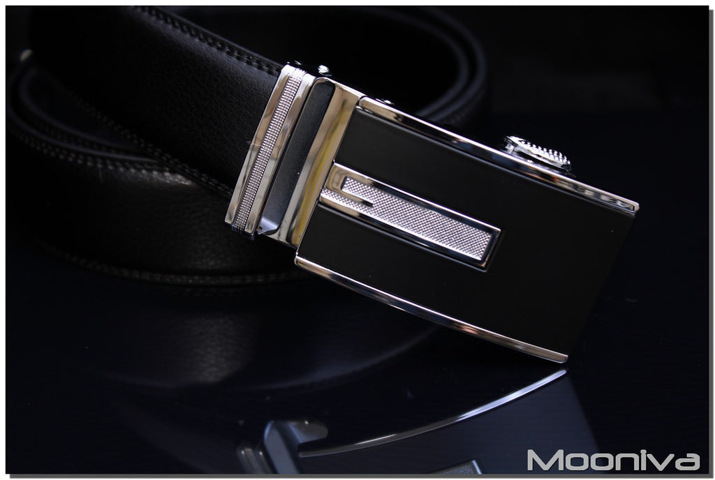 Mooniva Men's Leather Ratchet Belt - BBS0092BLACK - Diamond G Stripe Buckle