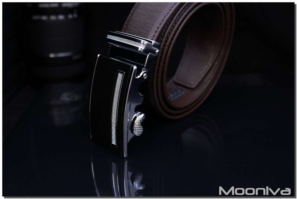 Mooniva Men's Leather Ratchet Belt - BBS0082COFFEE - SS Diamond Stripe Buckle