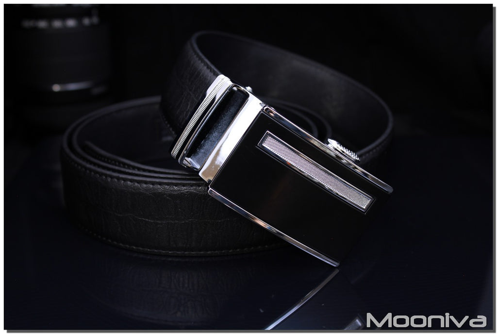 Mooniva Men's Leather Ratchet Belt - BBS0082BLACK - SS Diamond Stripe Buckle