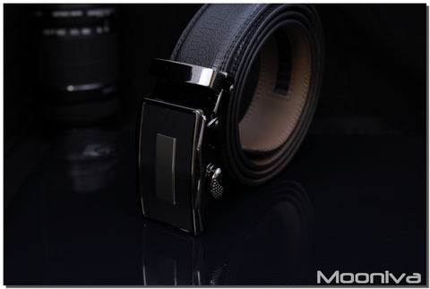 Mooniva Men's Leather Ratchet Belt - BBS0083BLACK - SS Bar on Black Buckle