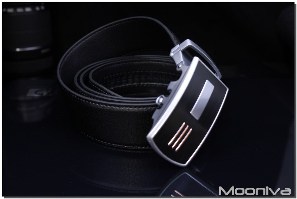 Mooniva Men's Ratchet Leather Belt - BBS0081BLACK - Copper Stripes SS Button Buckle