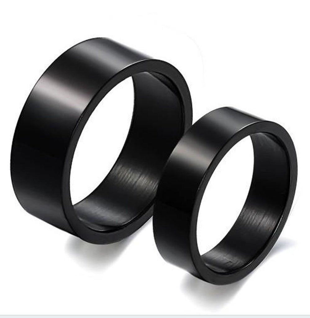 Men's Titanium Stainless Steel Rings Black