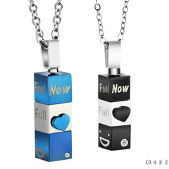 His and Her 'Feel Full Now' Titanium Stainless Steel Couple Pendant Necklace