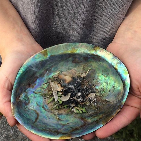 Abalone shell with scared smudging medicine used in House Blessing services.