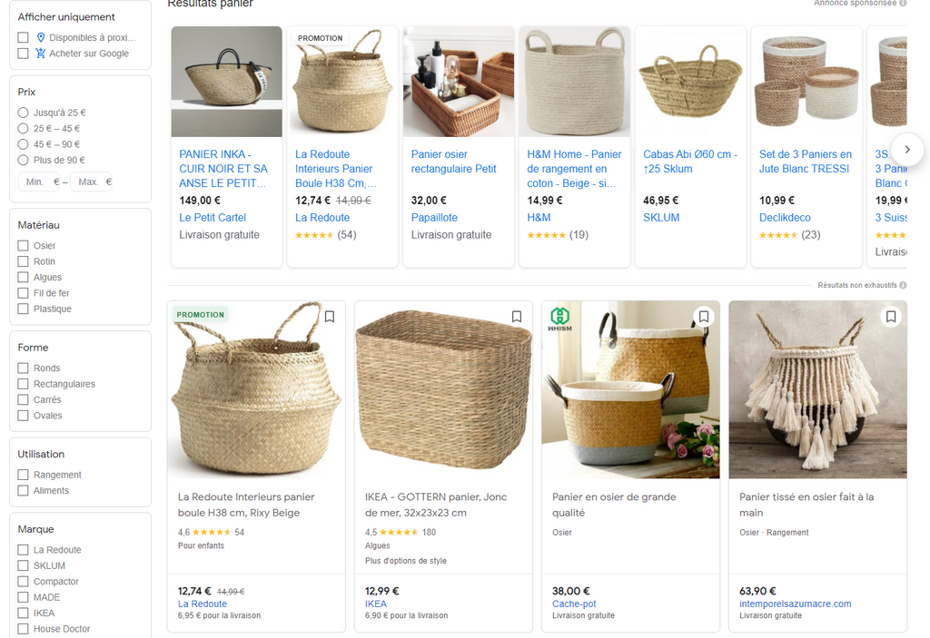 Annonce Google Shopping
