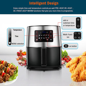 6.3QT 1700W Stainless Steel Air Fryer Oven For Roasting  Multi-function Screen