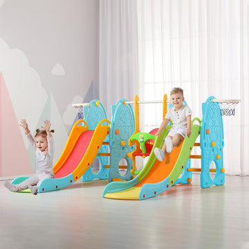 Toddler Climbing And Swing Set, Featuring Double Slides To Throw BasketballSwing