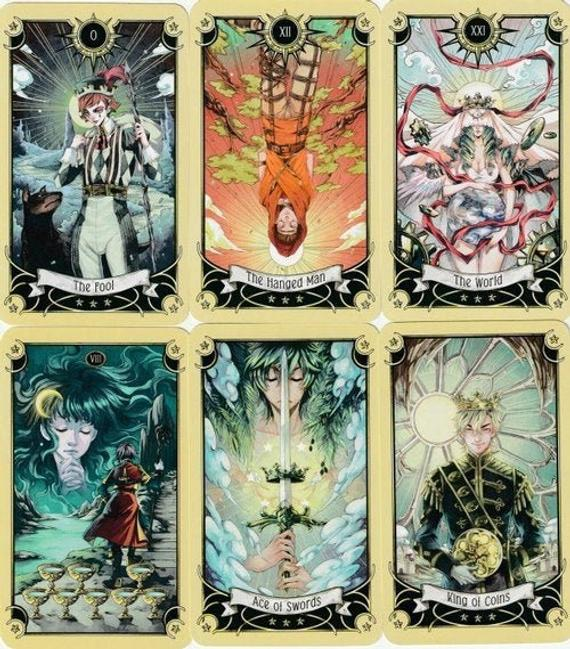 This is a set of Mystical Manga Tarot Deck for Art Projects Crafts and  Assemblage!! Capturing the beautiful style and spirit of Ja… | Art  projects, Art, Tarot decks