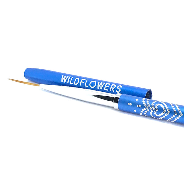 "Blue  Long ""Skinny"" Striper Brush With Lid"