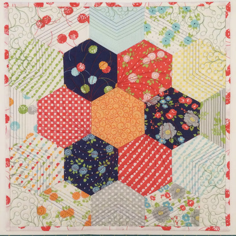 Machine pieced hexagon tutorial purple daisies quilting for Hexagon quilt template plastic
