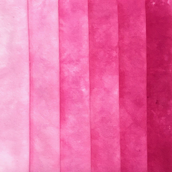 Hot Pink - Textured Hand Dyed Fabric Bundle