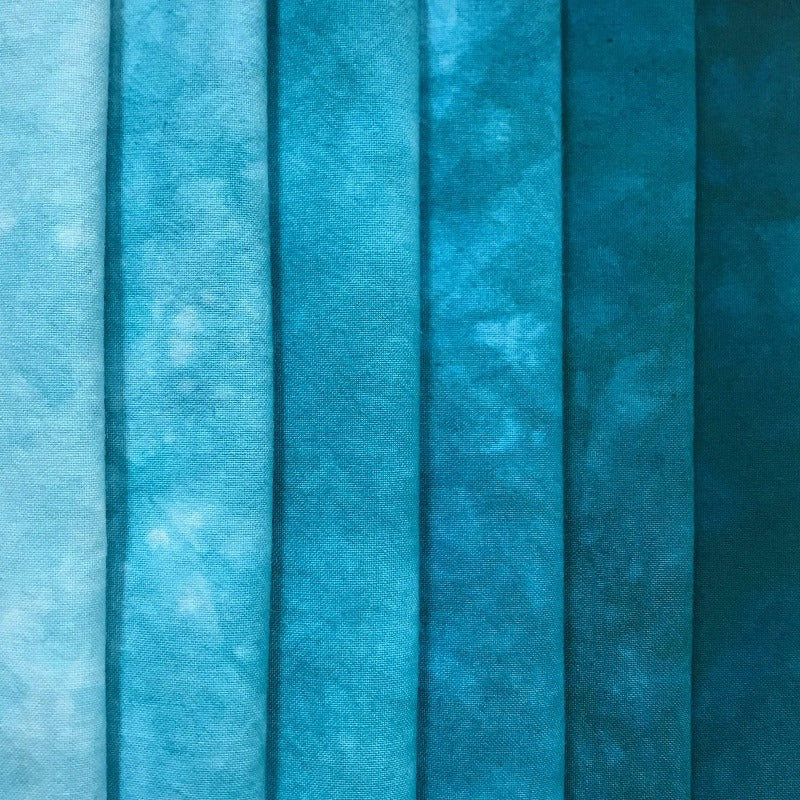 Aqua Marine - Textured Hand Dyed Fabric Bundle