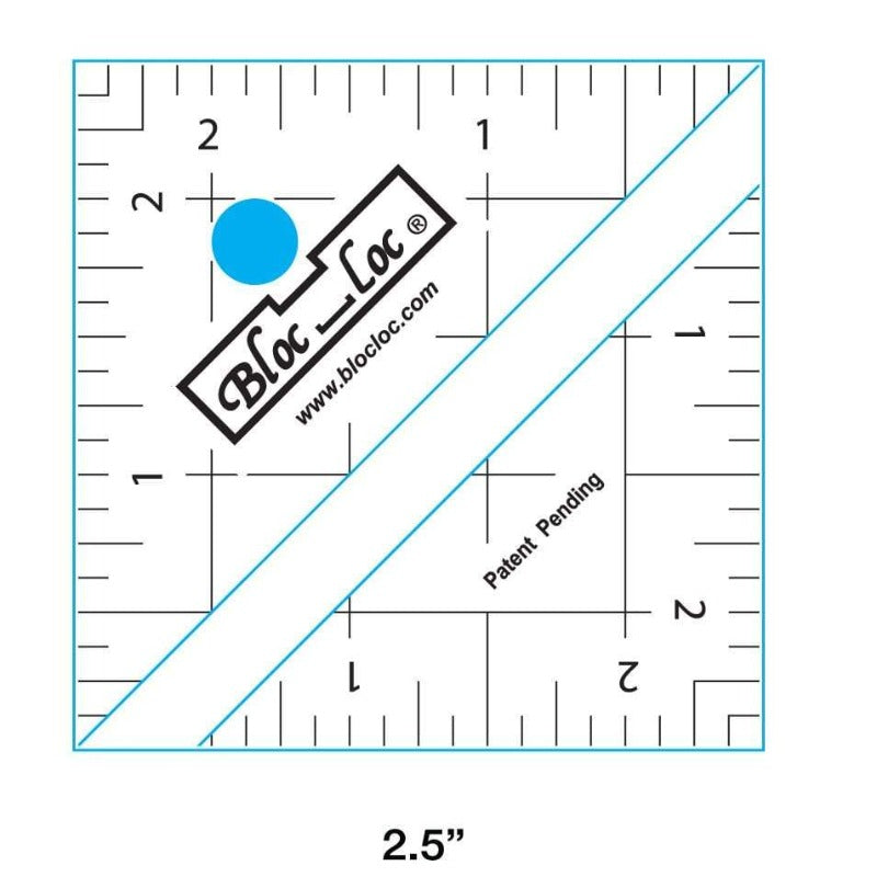 "Bloc_Loc 2.5"" Half Square Triangle Square Up Ruler"