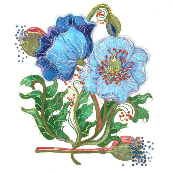 Blue Poppies - Applique Pattern