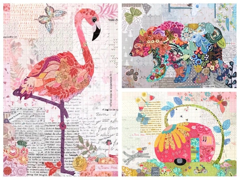 Teeny Tiny Collage Pattern Group #3: Flamingo, Bear, Trailer
