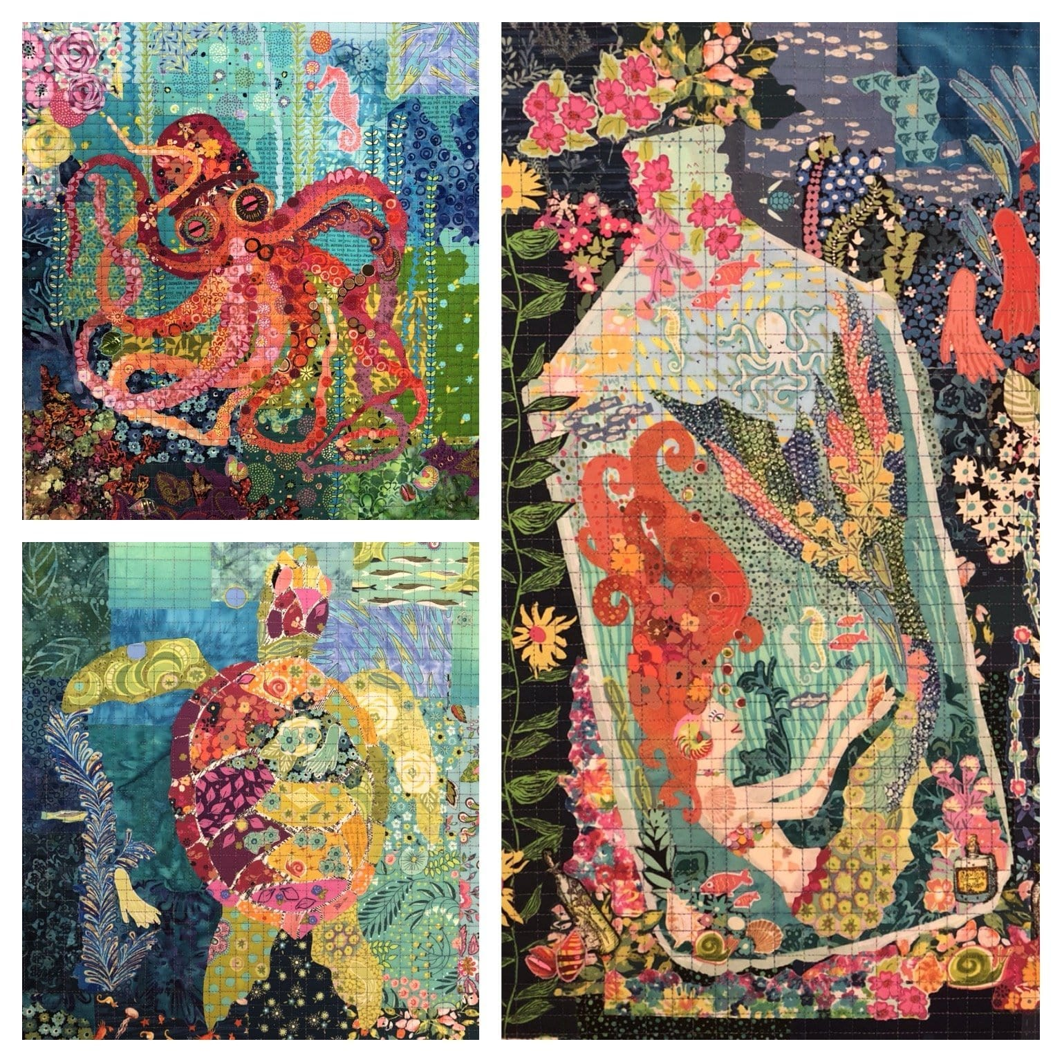 Teeny Tiny Collage Pattern Group #4: Sea Turtle, Mermaid, & Octopus