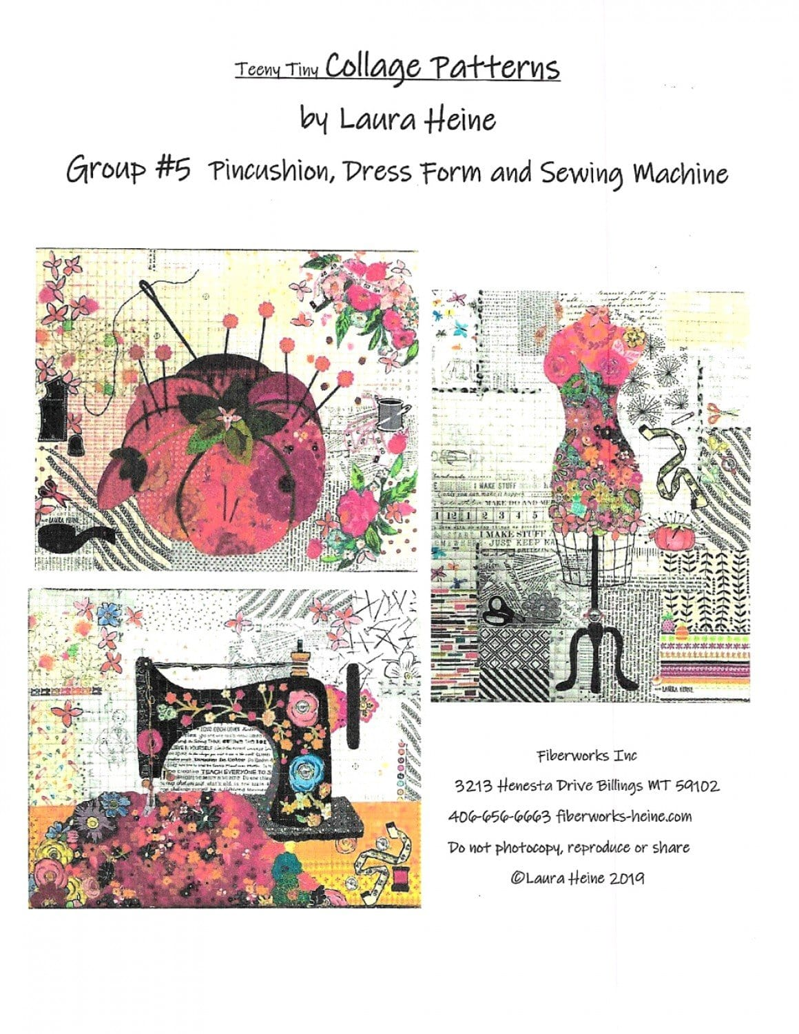 Teeny Tiny Collage Pattern Group #5: Pin Cushion, Dress Form, Sewing Machine
