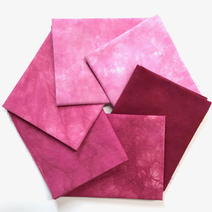 Red Wine - Textured Hand Dyed Fabric Bundle