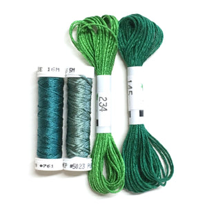 Teal Lilies - Leaf Thread Collection