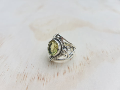 Jali Lemon Quartz Ring in Sterling Silver - Inspired Tribe Silver Jewellery