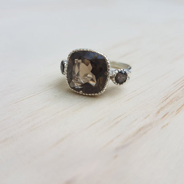 Cushion Cut Smoky Quartz Ring in Sterling Silver - Inspired Tribe Silver Jewellery