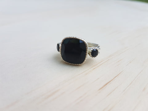 Cushion Cut Black Onyx Ring in Sterling Silver - Inspired Tribe Silver Jewellery