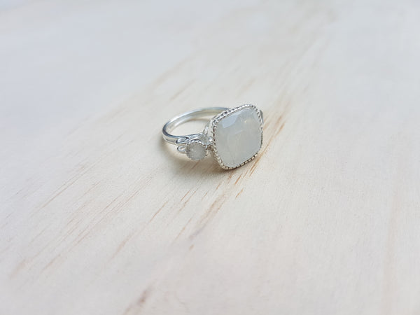 Cushion Cut Rainbow Moonstone Labradorite Ring in Sterling Silver