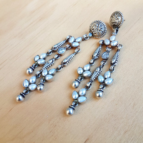 Big Boho Earrings Pearl and Polki Crystal Earrings