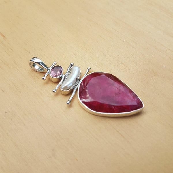 Ruby Pearl and Tourmaline Pendant
