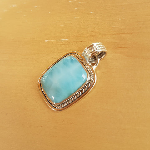 Larimar Emerald Shaped Pendant