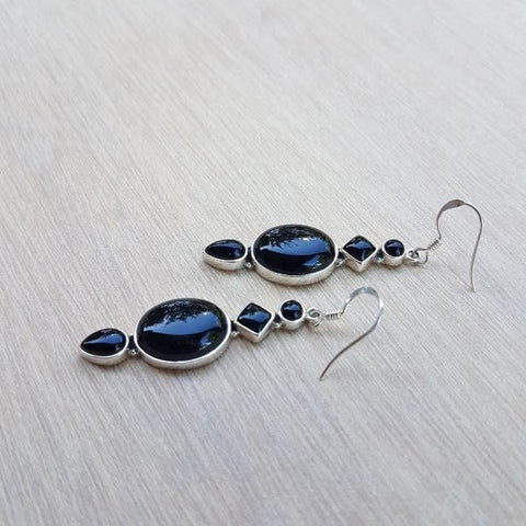 Black Onyx Long Luxe Earrings