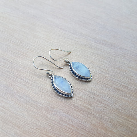 Rainbow Moonstone Marquise Earrings
