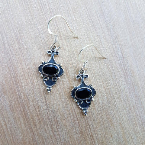 Black Onyx Mini Arabesque Earrings