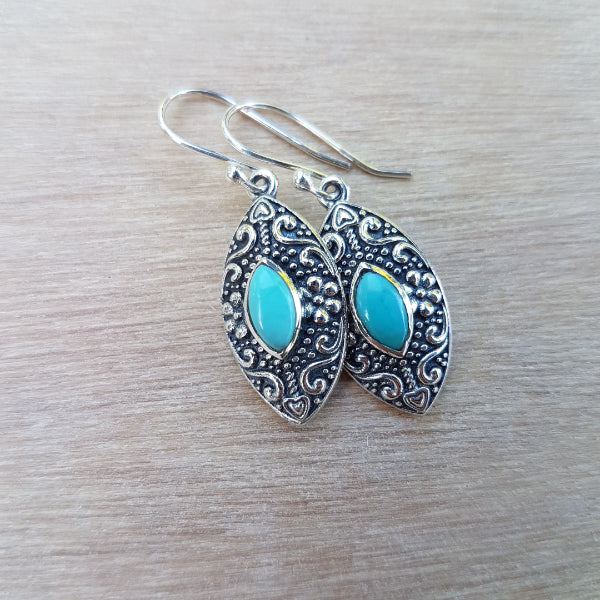 Turquoise Marquise Daisy Earrings