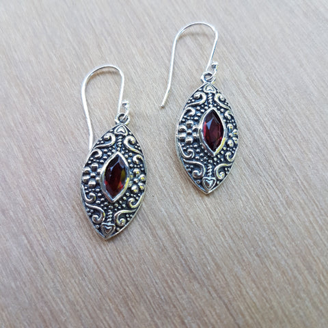Garnet Marquise Daisy Earrings