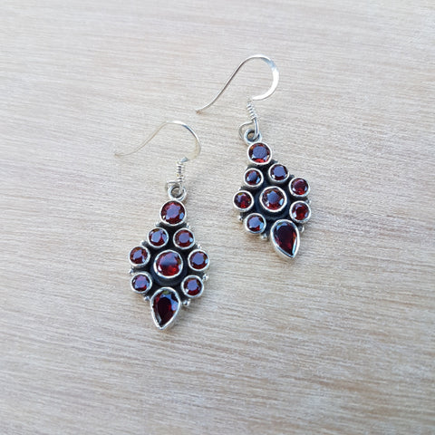 Garnet Indian Classic Earrings