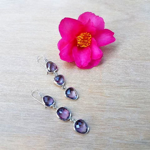 Amethyst Rose Cut Earrings