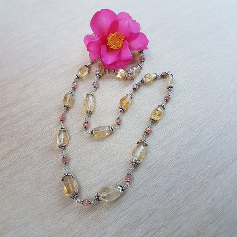 Citrine and Sunstone Beaded Necklace